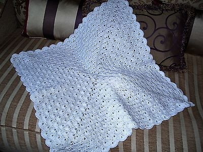 Lovely Hand made baby Shawl in Shell Pattern BN
