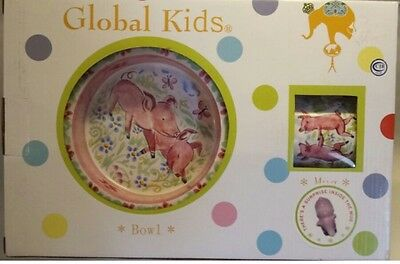 """New Global Kids 3-Piece dinnerware Set """"I Love You Pink Pigs"""" By Kate Williams"""