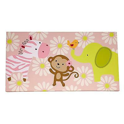 Jungle Collection Canvas Wall Art Monkey Elephant Zebra Decor Nursery Girl New