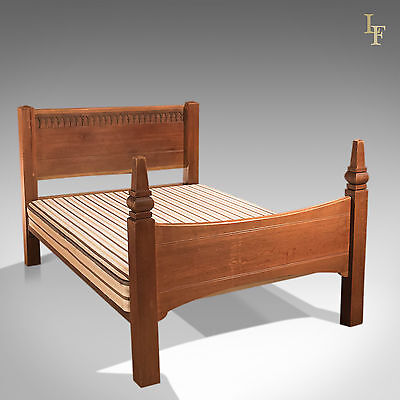 Mid-Century Oak Standard Double Bed, Arts & Crafts Liberty/Heals Quality English