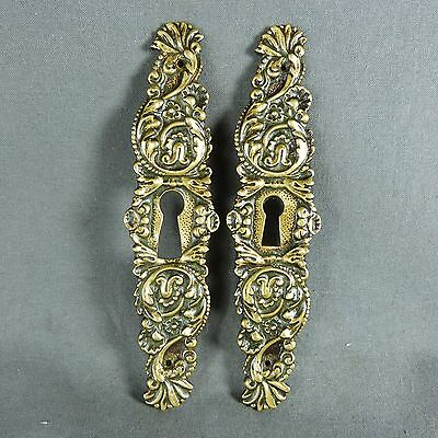 Pair of French Antique Gilted Bronze Door Plate Key Hole Cover Leaves Decor