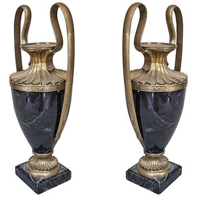Pair of French Victorian Black Marble Urns