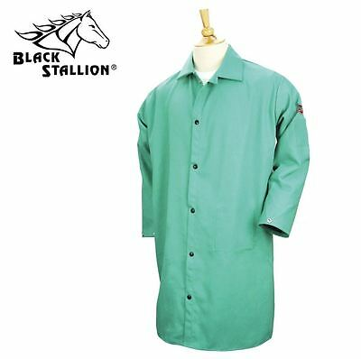 "Revco FR Shop Welding Coat Jacket 42"" Green Black Stallion 9oz Cotton LG 2XL 3XL"