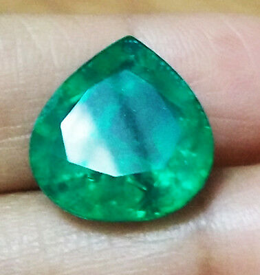 10.20 cts. 15x14mm. Natural Colombian Emerald Biron DoubletPear Shape