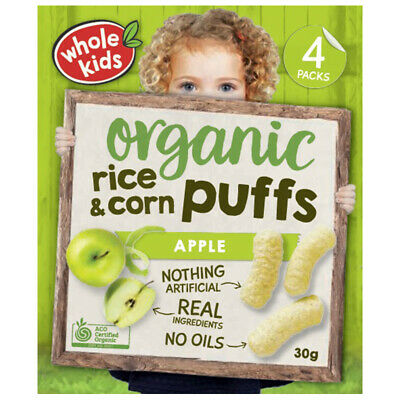 Whole Kids Little Munchkins Organic Rice & Corn Puffs Apple 7.5g 4 Pack