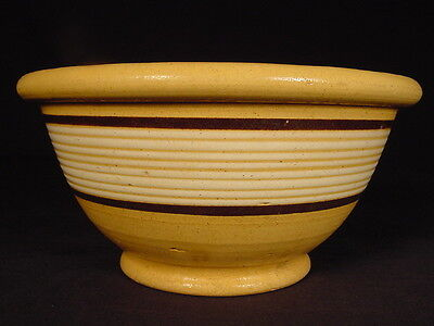 VERY RARE 1800s SMALL JEFFORDS POTTERY 10 BAND BOWL YELLOW WARE MINT