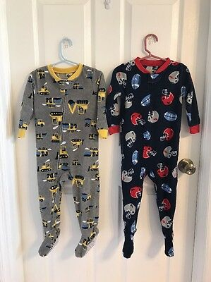 (2) Pairs Boys CARTER'S 2t  One Piece Footed Pajamas w/zipper Football Trucks