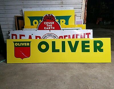 Original embossed Oliver machinery sign Barn gas oil seed feed plow original