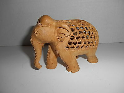 Elephant With Baby Inside Hand Carved Wood Figurine