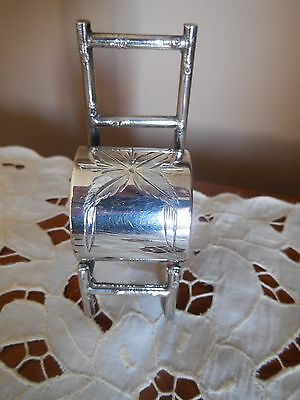 Silver Plated Napkin Ring Bamboo Chair