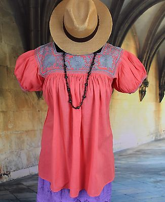 Coral & Silver Hand Embroidered Blouse Mayan Chiapas Mexico Peasant Hippie Boho