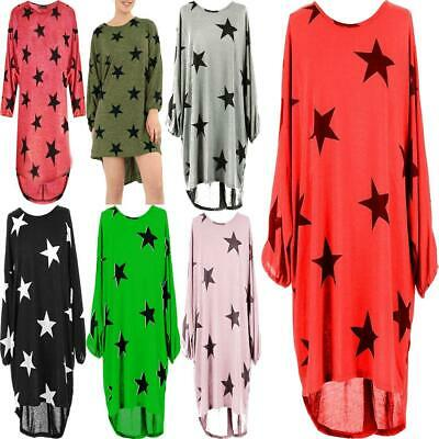 Ladies Baggy Batwing Stars Print Fine Knitted  LagenlookTunic Top Plus Size 8-26