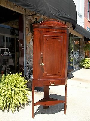 Outstanding English Hanging Wall Corner Cupboard On Stand In Mahogany 19thc