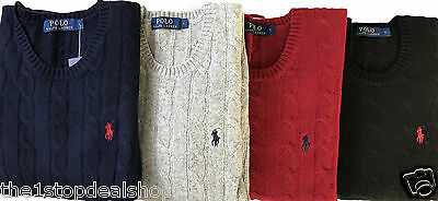 Ralph Lauren Men's Lamb Wool,Cotton Crew Neck Cable Knit Jumpers Sweater RRP £95