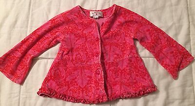 Baby Lulu Size 2T Months Red Pink Floral Velour Top Shirt