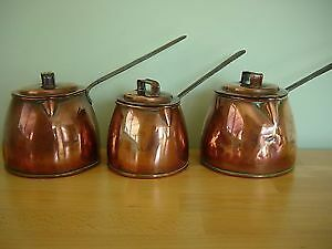 3 Antique Copper Saucepans With Lids And Iron Handles