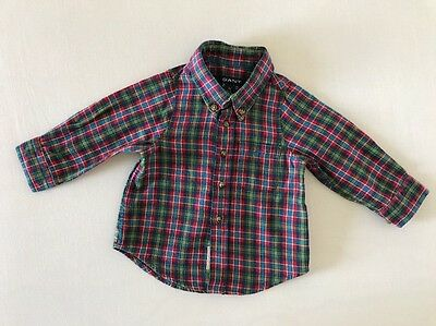 Gant Baby Boys Brushed Cotton Multi Check Long Sleeved Shirt Age 3 Months