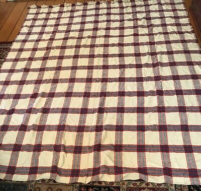Vintage FOLK ART  BLANKET Homespun wool linen hemp plaid handwoven R/W/B Lg