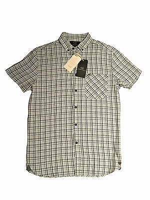 Mens Farrell Ecru Check Short Sleeve Shirt Vintage Classic Genuine Bnwt Small S