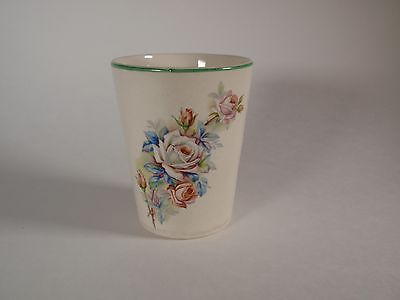 Vintage Rose Bouquet Ceramic Bathroom Cup Tumbler Shabby Cottage Green Rim Pink