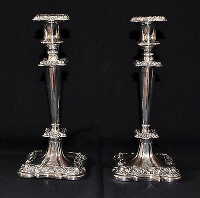 Pair of Antique Silver Plated Candlesticks Repousse design Square Base and Top
