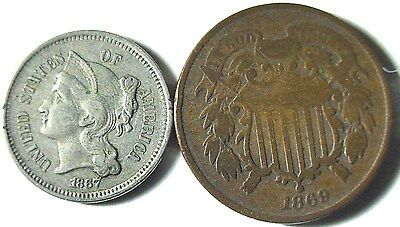 """1869 Copper Two Cent & 1867 Nickel Three Cent (Nice Starter """"Type Set"""" Coins)"""