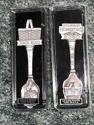 Longaberger Pewter Souvenir Spoons (2) Made In The USA NIP