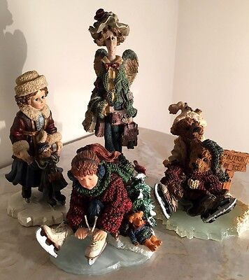 Lot Of 4 Figurines From The Boyds Collection - 3 Ice Skating & 1 Lizzie Angel