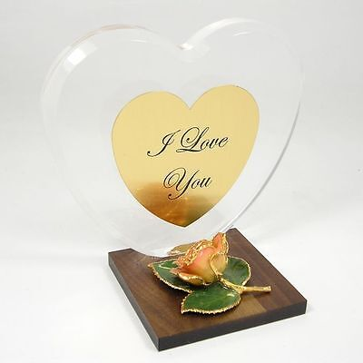 Personalized Anniversary Heart Gift w/ 24k Gold Pink/Cream Rose (Free Gift Box)