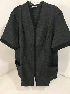 Cintas Women's Rendition Zip Front Tunic Charcoal Large Nwot