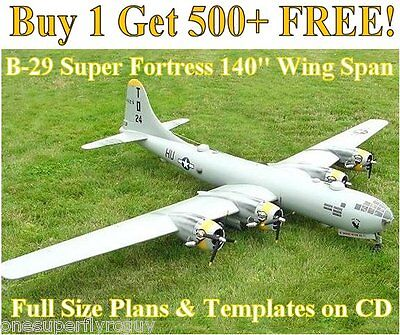 """B-29 Super Fortress 140"""" WS Giant Scale RC Airplane Plans & Templates on CD"""