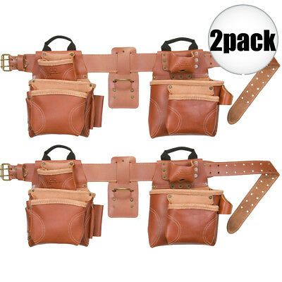 2pk 17-Pocket 4pc Pro Framer's Combo Tool Belt Custom Leathercraft 21448 New