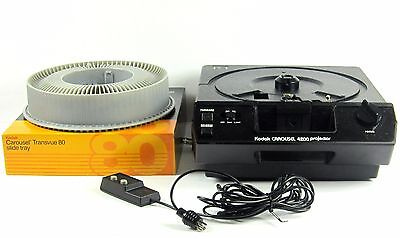 Kodak Carousel 4200 Projector W/ Transvue 80 Slide Tray, Remote, And Lens Works!