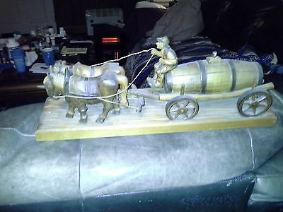Antique Black Forest Hand Carved Hofbrau Oxen Drawn Wagon Made In Germany