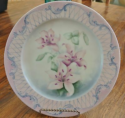 "Antique Hand Painted 10 1/4"" Decorative Collectible Floral Lillies Plate Signed"