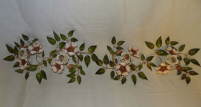 Chic Italian Tole Painted Shabby Wild Roses Candle Holders