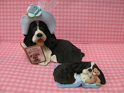 Handsculpted B/W English Springer Spaniel Mother Reading Bedtime Story- 2 pc.