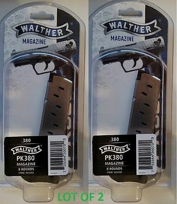 Lot of 2 - Walther PK380 380acp 8 Round Magazine 505600 8rd Mag Factory OEM NEW