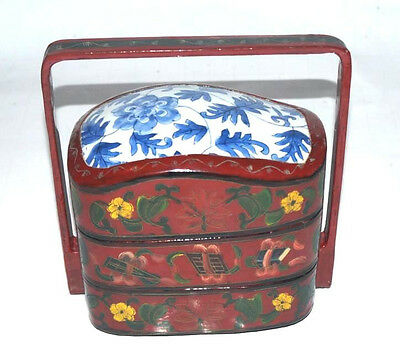 Vintage Japanese Lacquered Wood Lunch Bento Box Ceramic Top