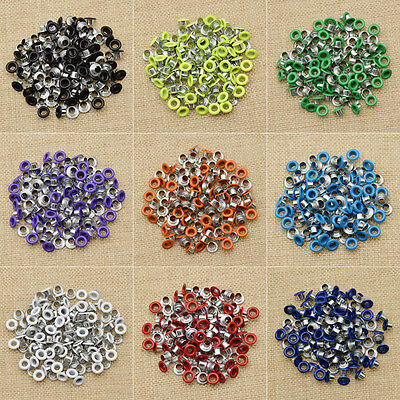100 Pcs Colorful Metal Eyelets DIY Leather Craft Scrapbooking Card Accessories