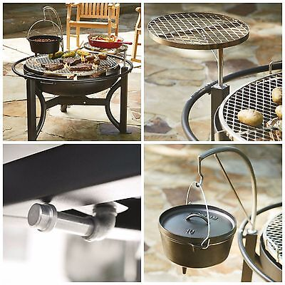 Cowboy Grill Patio BBQ Fire Pit Cooking Outdoor Charcoal Round 35