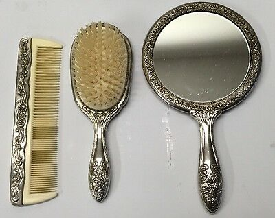 Sterling Silver Brush, Comb, Mirror Set Antique/ Vintage