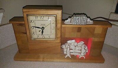 Vintage United Electric Self Starting Lighted Fireplace Wood Mantle Clock