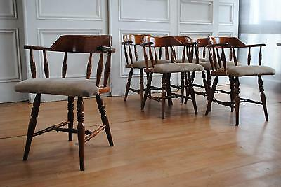 Set 6 Australian Vintage Colonial Captains Chairs - Country Kitchen Farmhouse