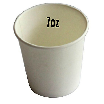 200 x 7oz WHITE Single Wall Coffee Cups 207ml Paper Disposable Party Favors New