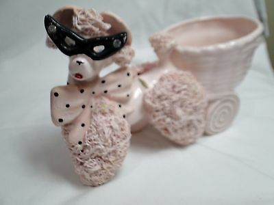 Vintage Mid Century 1950's Pink Spaghetti Poodle Planter With Cat Eye Glasses