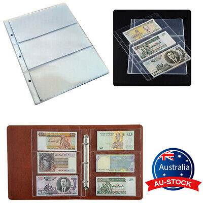 Money Banknote Collecting 10 Sleeves 3 Pockets Holder Paper Album Book Pages
