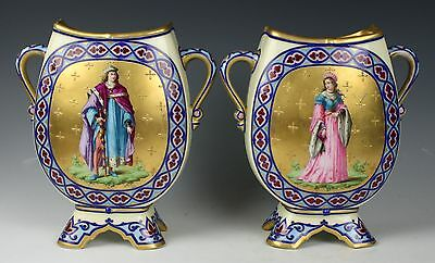 "Antique 19C french pair of enameled hand painted porcelain Vases ""King & Queen"""