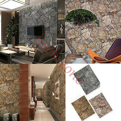 Waterproof 3D Rock Effect Natural Stone Wallpaper Home Decor Vintage Wall Papers