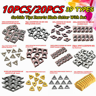 10/20Pcs 39 Types CNC Carbide Tips Inserts Blade Cutter Lathe Turning Tool + Box